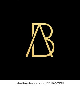 Initial Gold letter AB AB Logo Design with black Background Vector Illustration Template