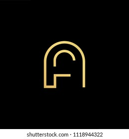 Initial Gold letter AF AF Logo Design with black Background Vector Illustration Template