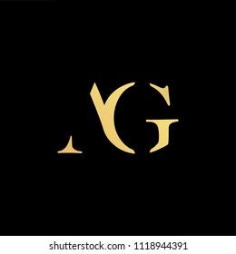 Initial Gold letter AG GA Logo Design with black Background Vector Illustration Template