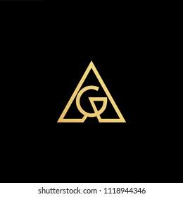 Initial Gold letter AG AG Logo Design with black Background Vector Illustration Template