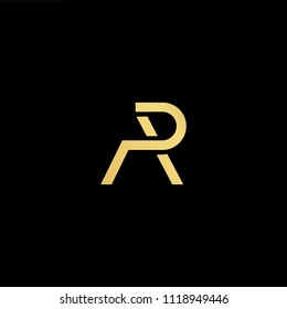 Initial Gold letter AP PA AR RA Logo Design with black Background Vector Illustration Template