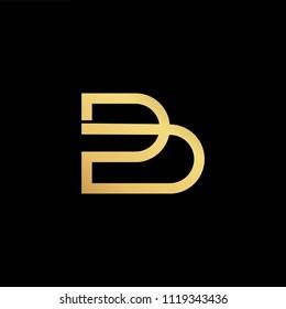 Initial Gold letter BD DB Logo Design with black Background Vector Illustration Template