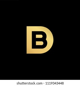 Initial Gold letter BD DB Logo Design with black Background Vector Illustration Template