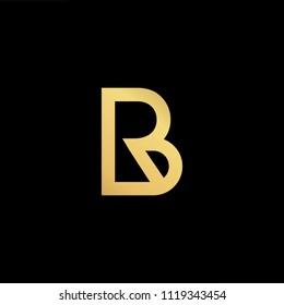 Initial Gold letter BR RB Logo Design with black Background Vector Illustration Template