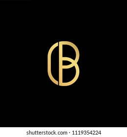 Initial Gold Letter Bc Cb Logo Stock Vector Royalty Free