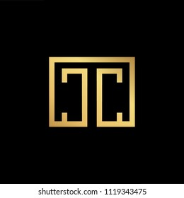 Initial Gold letter CC TC CT Logo Design with black Background Vector Illustration Template