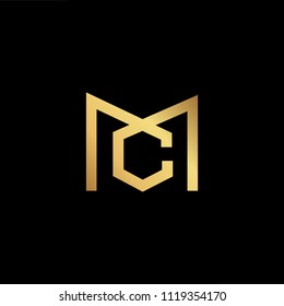 Initial Gold letter CM MC Logo Design with black Background Vector Illustration Template