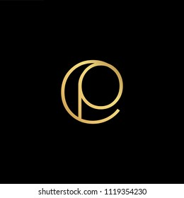 Initial Gold letter CP PC Logo Design with black Background Vector Illustration Template