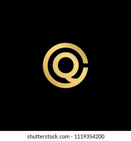 Initial Gold letter CQ QC Logo Design with black Background Vector Illustration Template