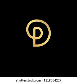 Initial Gold letter DP PD Logo Design with black Background Vector Illustration Template