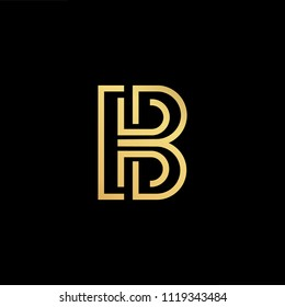 Initial Gold letter HB BH Logo Design with black Background Vector Illustration Template