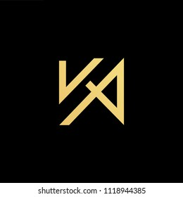 Initial Gold letter KA AK Logo Design with black Background Vector Illustration Template