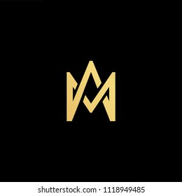 Initial Gold letter AM MA Logo Design with black Background Vector Illustration Template