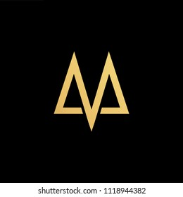 Initial Gold letter MV VM Logo Design with black Background Vector Illustration Template