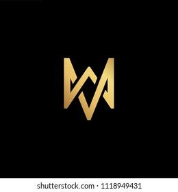 Initial Gold letter MW WM WV MV Logo Design with black Background Vector Illustration Template