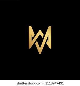 Initial Gold letter MW WM WV MV Logo Design with black Background Vector Illustration Template
