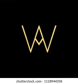 Initial Gold letter WA AW Logo Design with black Background Vector Illustration Template