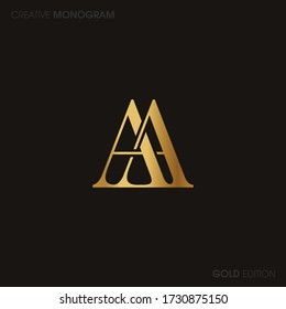 Initial Gold letters aa linked monogram logo vector. Business logo monogram with two overlap letters inside circle isolated on black background.
