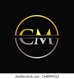 Initial Gold and Silver Color CM Letter Logo Typography Vector Template. Creative Abstract Letter CM Logo Design