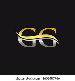 Initial Gold And Silver letter GG Logo Design with black Background. GG Logo Design