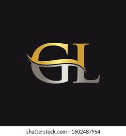 Initial Gold And Silver letter GL Logo Design with black Background. GL Logo Design