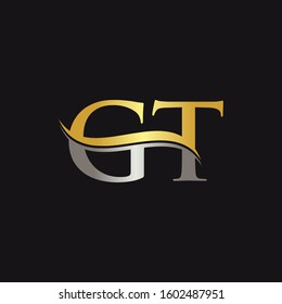 Initial Gold And Silver letter GT Logo Design with black Background. GT Logo Design