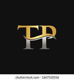 Initial Gold And Silver letter TP Logo Design with black Background. TP Logo Design