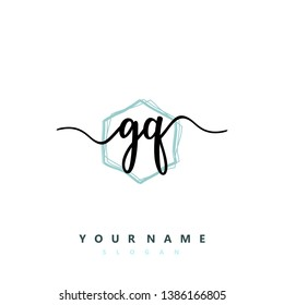 Initial GQ handwriting logo template vektor