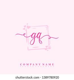 Initial GQ handwriting logo template vector