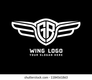 Initial GR wing logo template vector