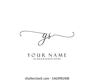 Initial GS beauty monogram and elegant logo design, handwriting logo of initial signature, wedding, fashion, floral and botanical with creative template.