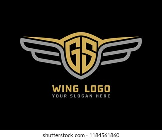 Initial GS wing logo template vector