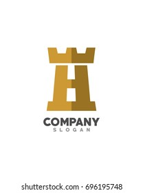 Initial H fortress logo template vector