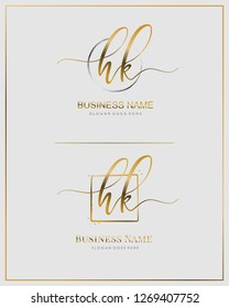 Initial H K HK handwriting logo vector. Letter handwritten logo template.