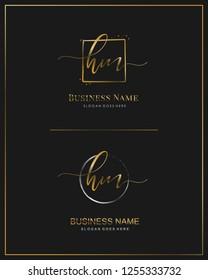 Initial H M HM handwriting logo vector. Letter handwritten logo template.