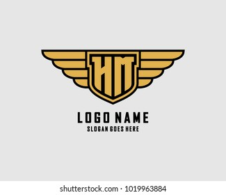 Initial H & M wing shield logo template vector