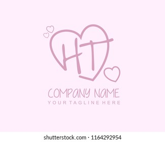 Initial H T with love logo template vector