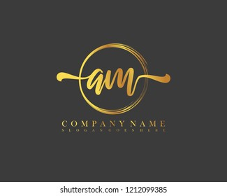 AM initial handwriting logo circle template vector