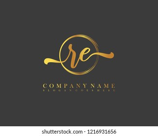 RE initial handwriting logo circle template vector