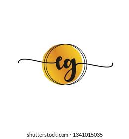 EG  Initial Handwriting logo template vector