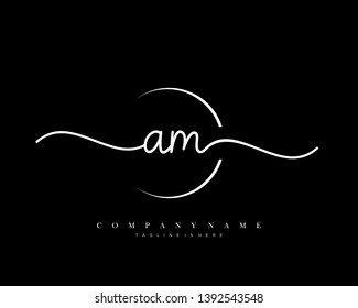 AM initial handwriting logo template vector
