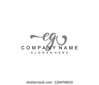 Initial EG handwriting logo vector