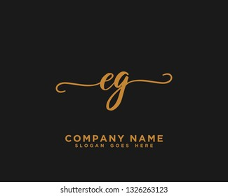 EG Initial Handwriting Logo Vector
