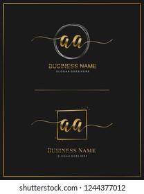 Initial A A handwriting logo vector. Letter handwritten logo template.