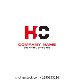 Initial HC constructions logo with hammer used negative space style vector