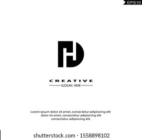 Initial HD, DH Logo icon design. Vector graphic design template element. Graphic Symbol for Corporate Business Identity.