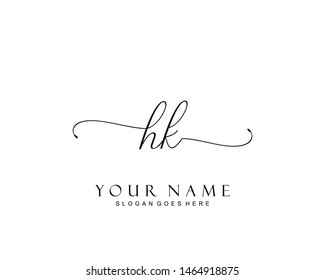 Initial HK beauty monogram and elegant logo design, handwriting logo of initial signature, wedding, fashion, floral and botanical with creative template.