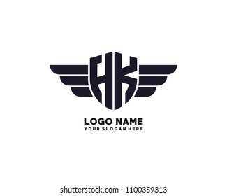 Initial HK wing logo template vector