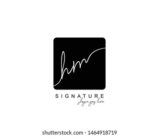 Initial HM beauty monogram and elegant logo design, handwriting logo of initial signature, wedding, fashion, floral and botanical with creative template.