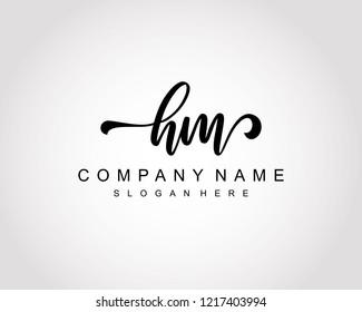 Initial HM handwriting logo vector